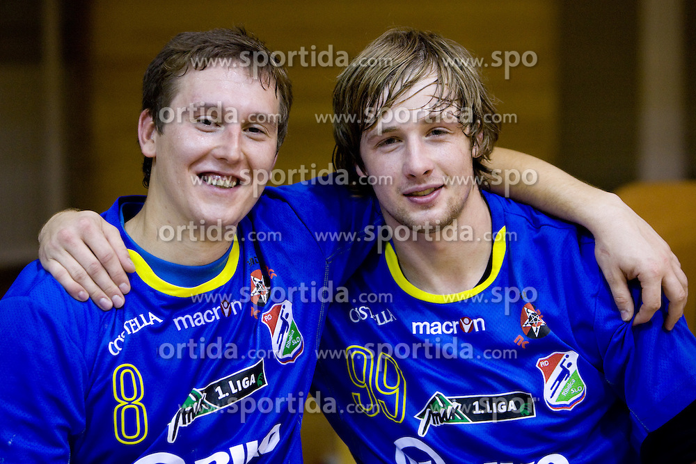 Urban Andoljsek and Gregor Kosmrlj of Ribnica celebrate at the handball match between RD Ribnica Riko-hise and RK Prevent of MIK 1st League 2009 - 2010,  on October 04, 2009, in Ribnica, Slovenia.   (Photo by Vid Ponikvar / Sportida)