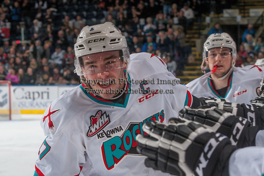 KELOWNA, CANADA - APRIL 1: Rodney Southam #17 of Kelowna Rockets celebrates a goal against the Kamloops Blazers on April 1, 2016 at Prospera Place in Kelowna, British Columbia, Canada.  (Photo by Marissa Baecker/Shoot the Breeze)  *** Local Caption *** Rodney Southam;