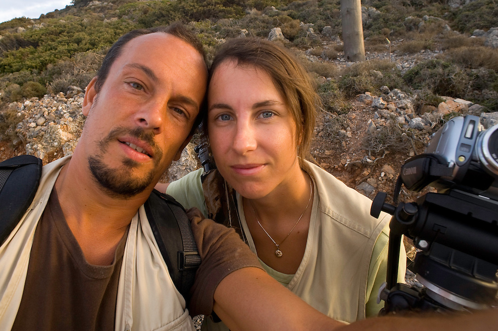 Photographer Stefano Unterthiner and his wife, Stéphanie Francoise, in Greece for WWE for his mission on Eleonora's falcon, Antikythera, Greece