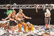 07/04/2014. The critically acclaimed contemporary ensemble les ballets C de la B returns to Sadler's Wells with the UK premiere of Alain Platel's latest creation tauberbach on Tuesday 8 & Wednesday 9 April 2014. Picture shows Lisi Estaras, Elie Tass, Elsie de Brauw.