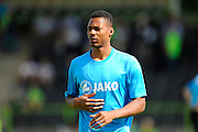 Ethan Pinnock (16) of Forset Green Rovers warming up during the Vanarama National League match between Forest Green Rovers and Southport at the New Lawn, Forest Green, United Kingdom on 29 August 2016. Photo by Graham Hunt.