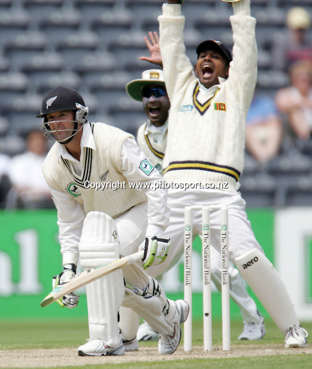 New Zealand batsman Nathan Astle is out for 2 runs, lbw bowled by Muttiah Muralitaran on day two of the first cricket test match between the New Zealand Black Caps and Sri Lanka at Jade Stadium, Christchurch, New Zealand on Friday 8 December 2006. Photo: Andrew Cornaga/PHOTOSPORT<br /> <br /> <br /> <br /> 081206