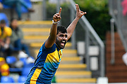 Thisara Perera of Sri Lanka is unsuccessful with his appeal for a wicket during the ICC Cricket World Cup 2019 match between Afghanistan and Sri Lanka at the Cardiff Wales Stadium at Sophia Gardens, Cardiff, Wales on 4 June 2019.