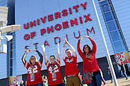 GLENDALE, AZ - JANUARY 01:  Ohio State Buckeyes fans (l-r) Jaque Privett, Alexis Privett, Kyle Durani and Hope Lemons pose for a photo before the BattleFrog Fiesta Bowl against the Notre Dame Fighting Irish at University of Phoenix Stadium on January 1, 2016 in Glendale, Arizona.  (Photo by Jennifer Stewart/Getty Images)