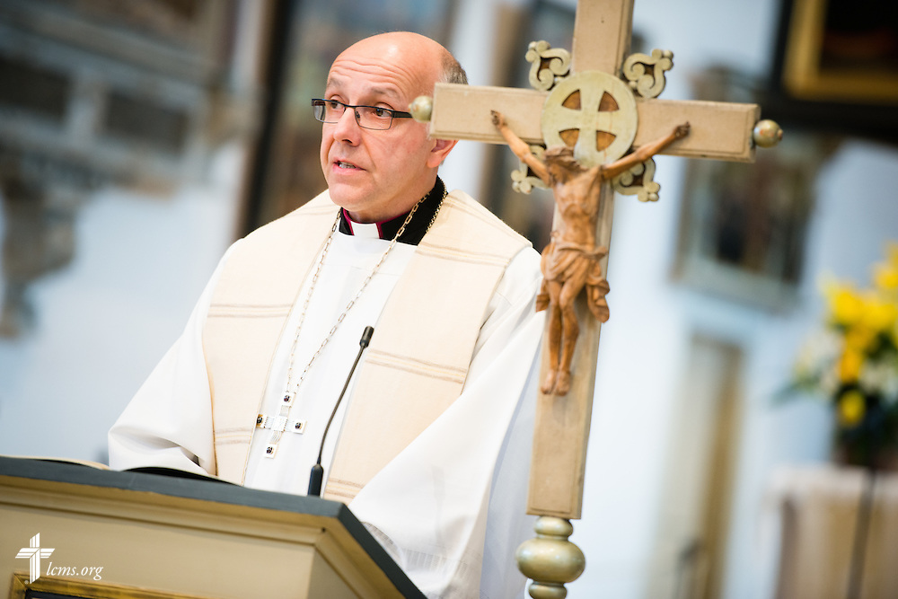 Bishop Hans-Jörg Voigt of the Independent Evangelical Lutheran Church (SELK) reads during the Festival Dedication Service at the Town and Parish Church of St. Mary's before the dedication of The International Lutheran Center at the Old Latin School on Sunday, May 3, 2015, in Wittenberg, Germany. LCMS Communications/Erik M. Lunsford