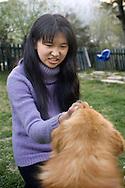 Girl And Dog<br /> <br /> Thimphu, Bhutan