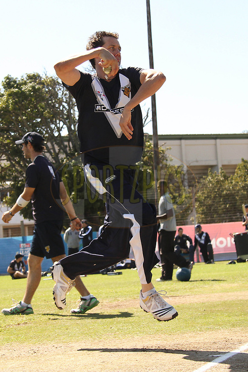 Bryce McGain of the Victorian Bushrangers sends down a delivery during the Victorian Bushrangers training session held at St Georges Park in Port Elizabeth on the 12 September 2010..Photo by: Shaun Roy/SPORTZPICS/CLT20