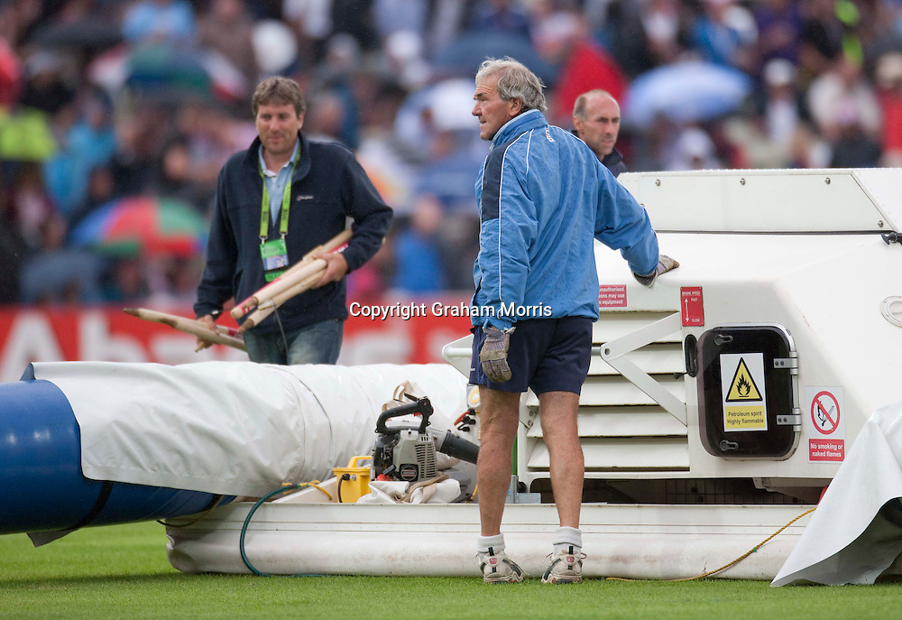 Retiring head groundsman, Steve Rouse, watches the rain clouds approach during the third npower Test Match between England and India at Edgbaston, Birmingham.  Photo: Graham Morris (Tel: +44(0)20 8969 4192 Email: sales@cricketpix.com) 12/08/11