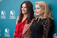 Actress Juliette Binoche and Catherine Deneuve at the photocall for the film The Truth (La Vérité) at the 76th Venice Film Festival, on Wednesday 28th August 2019, Venice Lido, Italy.