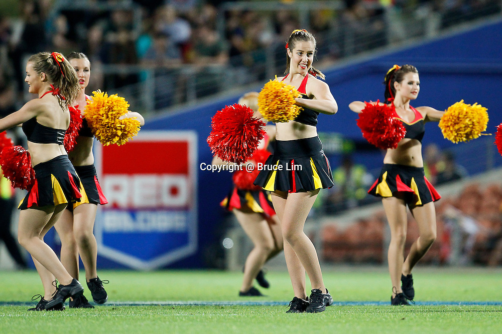 Chiefs cheerleaders perform during half time during the Super 15 Rugby match - Chiefs v Highlanders, 22 March 2013, Waikato Stadium, Hamilton, New Zealand.  Photo: Bruce Lim / photosport.co.nz