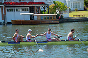 "Henley on Thames, United Kingdom, 8th July 2018, Sunday,  ""Henley Royal Regatta"", Leander crew Bow Barney STENTIFORD, 2 Ross JARVIS, 3  Tim CLARKE, Stroke James STANHOPE, celebrate, after winning the Visitors' Challenge Cup,  View, Henley Reach, River Thames, Thames Valley, England, UK."