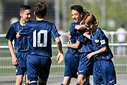 08.04.17; Zuerich; Fussball FCZ Academy - Grasshopper Club - Zuerich FE14 Oberland; <br /> Jubel Membrino Nunez Alessandro (Zuerich) Buerge Luca (Zuerich) <br /> (Andy Mueller/freshfocus)