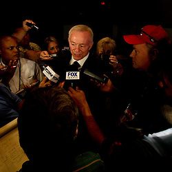 06 February, 2010: Dallas Cowboys owner Jerry Jones Smith talks to the media about Emmitt Smith (not pictured) after it was announced Smith was voted in as one of the newest Enhrinees into the Hall of Fame during a press conference for the Pro Football Hall of Fame Class of 2010 Enshrinees held at the Greater Ft. Lauderdale/Broward County Convention Center in Fort Lauderdale, Florida.