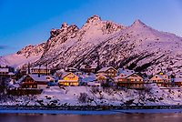 Houses, Svolvaer, on Austvagoya Island, Lofoten Islands, Arctic, Northern Norway.