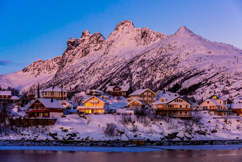Houses, Svolvaer, on Austvagoya Island, Lofoten Islands, Arctic, Northern Norway.