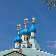Spires of the Holy Assumption of the Virgin Mary Russian Orthodox Church.  Kenai, Alaska.  USA.