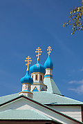 Spires of the Holy Assumption of the Virgin Mary Russian Orthodox Church.  Kenai, Alaska.  USA.
