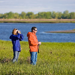 A young couple watches for wildlife on the salt marsh side of Long Beach in Stratford, Connecticut.  This body of water is known as Lewis Gut and is adjacent to the Great Meadows Unit of McKinney National Wildlife Refuge.