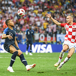 Kylian Mbappe of France and Domagoj Vida of Croatia during the World Cup Final match between France and Croatia at Luzhniki Stadium on July 15, 2018 in Moscow, Russia. (Photo by Anthony Dibon/Icon Sport)