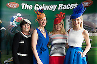 Milliner Suzie O'Mahony, Shirley Delahunt Athlone Town Centre,  Fashion Consultant and TV Presenter Marietta Doran and Katie Geoghegan Catwalk model in the g hotel for the launch of The Galway Races 2016 Summer Festival which runs from the 25th of July to the 31st of July in Galway City. Photo: Andrew Downes :