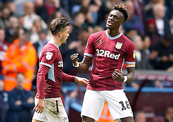 Aston Villa's Tammy Abraham (right) celebrates scoring his side's second goal of the game
