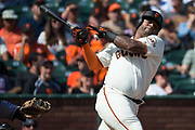 San Francisco Giants third baseman Pablo Sandoval (48) strikes out swinging against the Colorado Rockies at AT&T Park in San Francisco, California, on September 20, 2017. (Stan Olszewski/Special to S.F. Examiner)