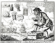 John Bull looking forward to the Land of Promise where there will be Parliamentary Reform, repeal of the Corn Laws, Free Trade, abolition of Window Tax. Cartoon JL Marks, London, c1832.