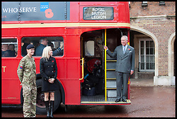 HRH Prince Charles steps off a route master bus meets ambassadors Capt Heather Stanning and Nell McAndrew for the Royal British Legion launch London Poppy Day to raise £1m Thursday November 1, 2012. Photo By i-Images