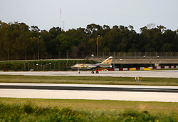 A Libyan Airforce Mirage F1 fighter jet taxis along the runway after landing at Malta International Airport outside Valletta February 21, 2011.  Two military jets reached Malta from Libya after flying in under radar cover, according to sources..Photo by Darrin Zammit Lupi