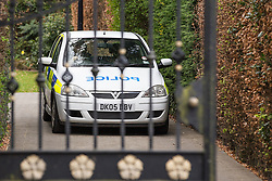 © Licensed to London News Pictures . 01/05/2013 . Wilmslow , Cheshire , UK . GV general view of police in the driveway of The White House , home to actor Bill Roache MBE . Coronation Street actor , Bill Roache MBE has been arrested on charges of an historic rape against a 15 year old girl . Photo credit : Joel Goodman/LNP