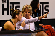 Sue Hawkins Coach of the Tactix talks with Nicola Mackle of the Tactix during the ANZ Netball Premiership match, Tactix v Steel, Horncastle Arena, Christchurch, New Zealand, 19th April 2017.Copyright photo: John Davidson / www.photosport.nz