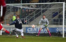 Falkirk's Jay Fulton has his shot saved by Raith Rovers David McGurn..Falkirk 1 v 1 Raith Rovers, 5/3/2013.