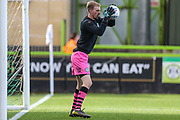 Forest Green Rovers goalkeeper Lewis Thomas(24) warming up during the EFL Sky Bet League 2 match between Forest Green Rovers and Mansfield Town at the New Lawn, Forest Green, United Kingdom on 19 October 2019.
