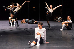 "© Licensed to London News Pictures. 24/10/2019. LONDON, UK. Dancers at a rehearsal of the UK premiere of ""For Four Walls"", choreographed by Petter Jacobsson and Thomas Caley, performed by CCN-Ballet de Lorraine to a solo piano score, at the Royal Opera House in Covent Garden.  The choreography takes place inside a mirrored space and is a re-imagined piece based on a once-lost 1944 work called ""Four Walls"".  The show is part of this years Dance Umbrella Festival which runs to 27 October.   Photo credit: Stephen Chung/LNP"