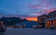 Downtown Silverton Colorado at sunset