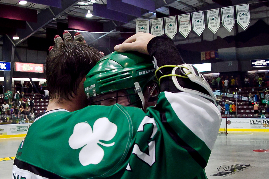 Victoria Shamrocks Lacrosse club celebrate after beating the Langley Thunder 4-3 in Overtime evening the series 2-2 Friday night at Bear Mountain Arena in Victoria B.C. Canada