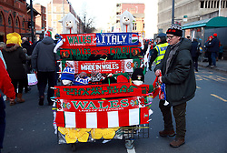 Scarves for sale outside the ground before the Guinness Six Nations match at the Principality Stadium, Cardiff.