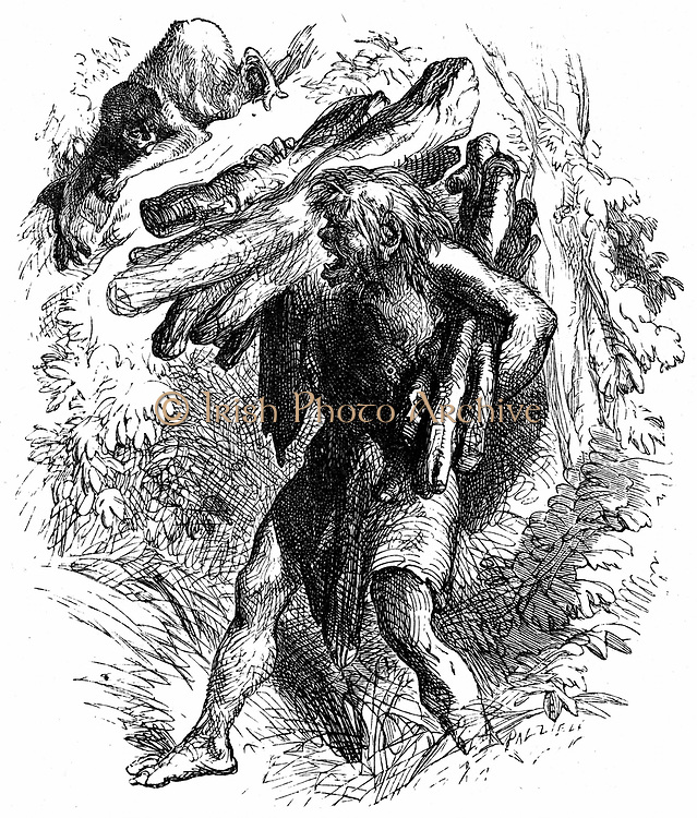 Caliban, the savage, deformed, sub-human creature enslaved by Prospero. Act II Sc. II, Caliban collecting wood. Illustration for 'The Tempest' for an edition of Shakespeare's Works published 1856-1858. Engraving .