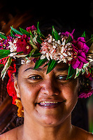 Polynesian woman, Hilton Moorea Lagoon Resort, island of Moorea, Society Islands, French Polynesia.