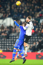 DERBY RICHARD KEOGH HOLDS OF PIERRE MICHEL LASOGGA  LEEDS UNITED, Derby county v Leeds United, Sky Bet championship Pride Park, Wednesday 21st February 2018, Score 2-2 Photo:Mike Capps