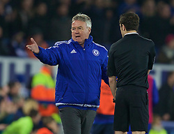 LIVERPOOL, ENGLAND - Saturday, March 12, 2016: Chelsea's manager Guus Hiddink complains to the assistant referee during the FA Cup Quarter-Final match against Everton at Goodison Park. (Pic by David Rawcliffe/Propaganda)