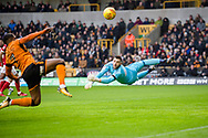 Jordan Smith of Nottingham Forest watches as Ivan Cavaleiro of Wolverhampton Wanderers closes in on a possible chance during the EFL Sky Bet Championship match between Wolverhampton Wanderers and Nottingham Forest at Molineux, Wolverhampton, England on 20 January 2018. Photo by Darren Musgrove.