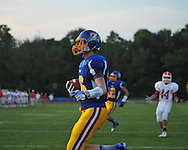Oxford High's Zach Cousar (16) makes a touchdown catch vs. Jackson Prep in Oxford, Miss. on Friday, August 23, 2013. Oxford won 32-20.
