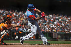 SAN FRANCISCO, CA - AUGUST 26: Adrian Beltre #29 of the Texas Rangers at bat against the San Francisco Giants during the eighth inning at AT&T Park on August 26, 2018 in San Francisco, California. The San Francisco Giants defeated the Texas Rangers 3-1. All players across MLB will wear nicknames on their backs as well as colorful, non-traditional uniforms featuring alternate designs inspired by youth-league uniforms during Players Weekend. (Photo by Jason O. Watson/Getty Images) *** Local Caption *** Adrian Beltre