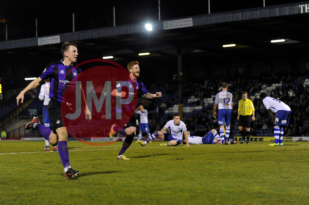 Bristol Rovers' Matt Harrold celebrates Bristol Rovers' equalising goal - Photo mandatory by-line: Dougie Allward/JMP - Mobile: 07966 386802 01/04/2014 - SPORT - FOOTBALL - Bury - Gigg Lane - Bury v Bristol Rovers - Sky Bet League Two