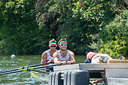 """Henley on Thames, United Kingdom, 3rd July 2018, Sunday,  """"Henley Royal Regatta"""",  Double Sculls Challenge Cup , Finalists, Bow Gary O'DONOVAN, Stroke Paul O'DONOVAN, IRL M2X, Skibbereen Rowing Club, prepare for the Start, View, Henley Reach, River Thames, Thames Valley, England, UK."""