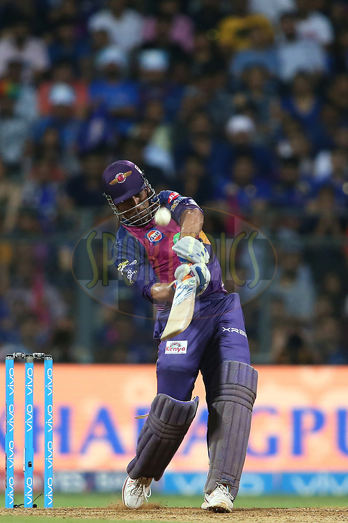 MS Dhoni of Rising Pune Supergiant hits over the top for six during The Qualifier 1 match (match 57) of the Vivo 2017 Indian Premier League between the Mumbai Indians and the Rising Pune Supergiant held at the Wankhede Stadium in Mumbai, India on the 16th May 2017<br /> <br /> Photo by Shaun Roy - Sportzpics - IPL