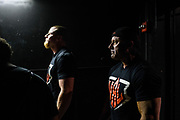 Baltimore, Maryland - May 17, 2018: WAL middleweights Jordan Sill, left, and Craig Tullier in the wings before their match. <br /> <br /> <br /> during the World Armwrestling League Supermatch Showdown Series at Rams Head Live in Baltimore, Thursday May 17th, 2018. Bleacher Report Live is the exclusive broadcaster of the event. With the recent advent of online video streaming services, niche sporting leagues are now able to sign broadcast deals. <br /> <br /> <br /> CREDIT: Matt Roth for The New York Times<br /> Assignment ID: 30219819A