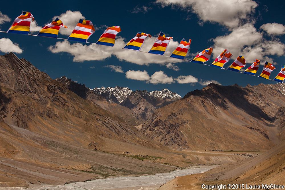 Tibetan Prayer Flags & Himalayan Mountains, India