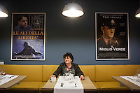 "MILANO, ITALY - 1 MARCH 2016: Silvia Polleri (65), founder of the co-operative ABC La Sapienza and of the ""InGalera"" restaurant, poses for a portrait in the ""InGalera"" restaurant at the Bollate prison in Milan, Italy, on March 1s 2016.<br /> <br /> ""InGalera"" (which translates in English as ""InJail"") is the first restaurant located inside a prison and offering high-quality cooking to the public and a future to the inmates. It was inaugurated last October inside the Bollate prison in Milan. It is open five days a week for lunch and dinner, and seats 55 people. There are 9 people involved in the project, including cooks and waiters, all regularly employed and all inmates of the prison, apart from the chef and the maître d'hôtel, recruited from outside to guarantee the high quality of the food served. The restaurant is a project of the co-operative ABC La Sapienza - that operates inside the prison and provides more than 1,000 meals three times a day with the help of inmates they've hired - and of PwC, a multinational operating in the field of corporate consultancy. The goal of this project is to follow prisoners in rehabilitation process of social inclusion.<br /> <br /> The Bollate prison is already known for being a good example of penitentiary administration. The inmates are free to move around from one area to the other inside the prison (their cells open at 7:30am and close at 9pm) to go study, exercise in a gym, or work (in a call center, as scenographers, tailors, gardeners, cooks, typographers, among others)  in one of the 11 co-operatives inside the prison or in one of the private partnering businesses outside the prison. The turnover of the co-operatives that work inside the prison was €2mln in 2012."
